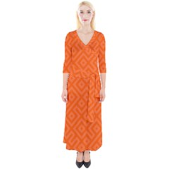Orange Maze Quarter Sleeve Wrap Maxi Dress