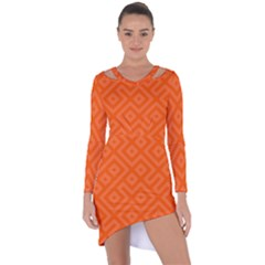 Orange Maze Asymmetric Cut-Out Shift Dress