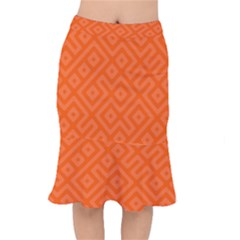 Orange Maze Short Mermaid Skirt
