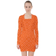 Orange Maze V-neck Bodycon Long Sleeve Dress