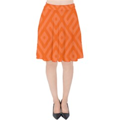 Orange Maze Velvet High Waist Skirt