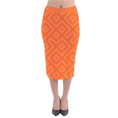 Orange Maze Velvet Midi Pencil Skirt