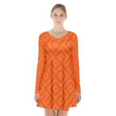 Orange Maze Long Sleeve Velvet V-neck Dress