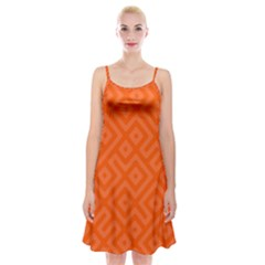 Orange Maze Spaghetti Strap Velvet Dress