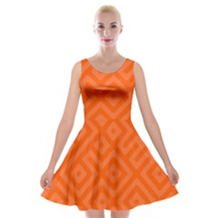 Orange Maze Velvet Skater Dress