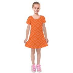 Orange Maze Kids  Short Sleeve Velvet Dress
