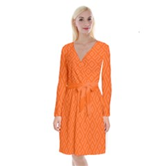 Orange Maze Long Sleeve Velvet Front Wrap Dress