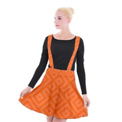 Orange Maze Suspender Skater Skirt