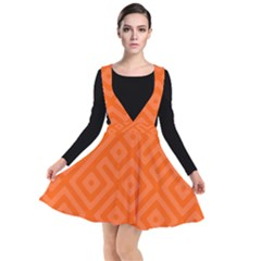 Orange Maze Plunge Pinafore Dress