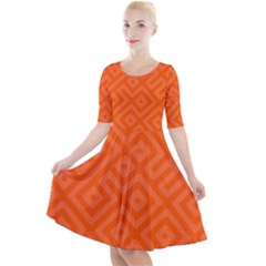 Orange Maze Quarter Sleeve A-Line Dress
