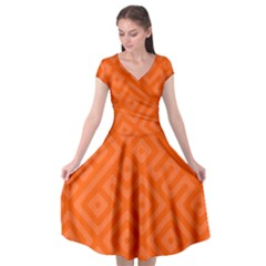 Orange Maze Cap Sleeve Wrap Front Dress