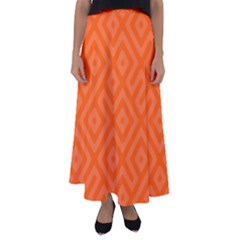 Orange Maze Flared Maxi Skirt