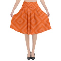 Orange Maze Flared Midi Skirt