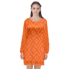 Orange Maze Long Sleeve Chiffon Shift Dress