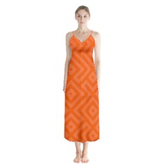 Orange Maze Button Up Chiffon Maxi Dress