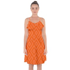 Orange Maze Ruffle Detail Chiffon Dress