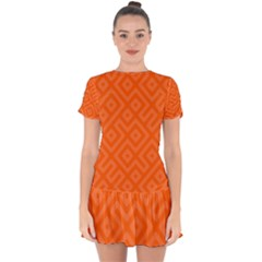 Orange Maze Drop Hem Mini Chiffon Dress