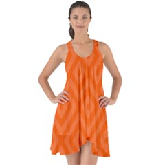 Orange Maze Show Some Back Chiffon Dress by retrotoomoderndesigns