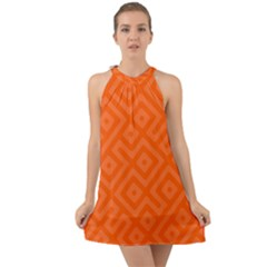 Orange Maze Halter Tie Back Chiffon Dress