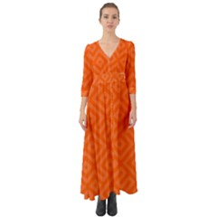 Orange Maze Button Up Boho Maxi Dress
