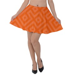 Orange Maze Velvet Skater Skirt