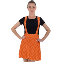 Orange Maze Velvet Suspender Skater Skirt