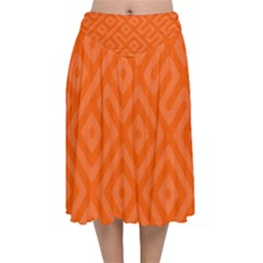 Orange Maze Velvet Flared Midi Skirt