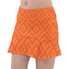 Orange Maze Tennis Skirt