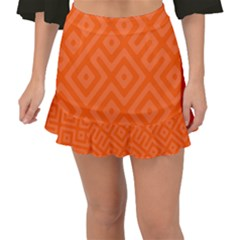 Orange Maze Fishtail Mini Chiffon Skirt by retrotoomoderndesigns