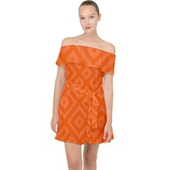 Orange Maze Off Shoulder Chiffon Dress
