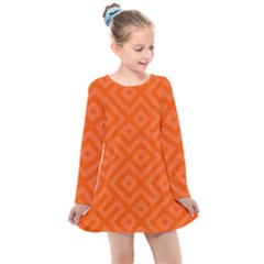 Orange Maze Kids  Long Sleeve Dress by retrotoomoderndesigns