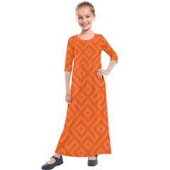 Orange Maze Kids  Quarter Sleeve Maxi Dress by retrotoomoderndesigns