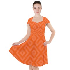 Orange Maze Cap Sleeve Midi Dress