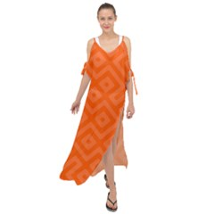 Orange Maze Maxi Chiffon Cover Up Dress by retrotoomoderndesigns