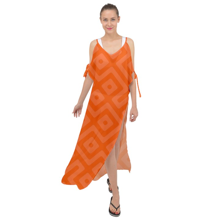 Orange Maze Maxi Chiffon Cover Up Dress