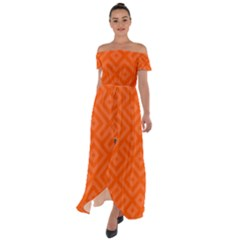 Orange Maze Off Shoulder Open Front Chiffon Dress by retrotoomoderndesigns