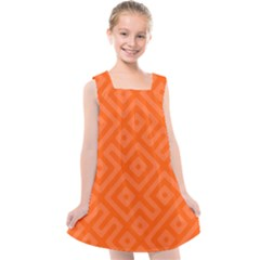 Orange Maze Kids  Cross Back Dress