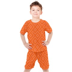 Orange Maze Kids  Tee and Shorts Set