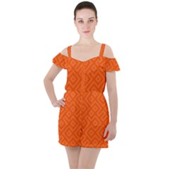 Orange Maze Ruffle Cut Out Chiffon Playsuit