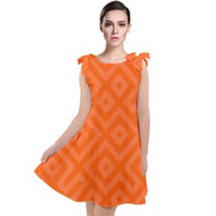 Orange Maze Tie Up Tunic Dress