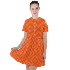 Orange Maze Short Sleeve Shoulder Cut Out Dress