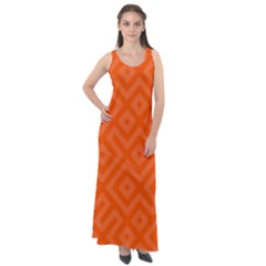 Orange Maze Sleeveless Velour Maxi Dress