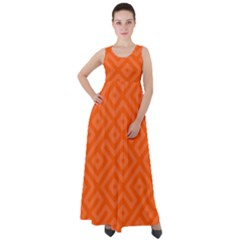 Orange Maze Empire Waist Velour Maxi Dress