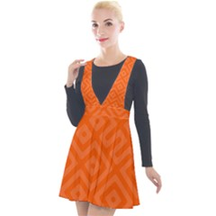 Orange Maze Plunge Pinafore Velour Dress