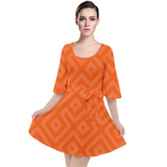 Orange Maze Velour Kimono Dress