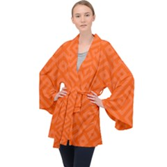 Orange Maze Long Sleeve Velvet Kimono