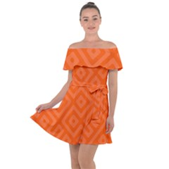 Orange Maze Off Shoulder Velour Dress