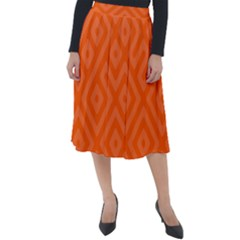Orange Maze Classic Velour Midi Skirt  by retrotoomoderndesigns