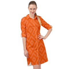 Orange Maze Long Sleeve Mini Shirt Dress