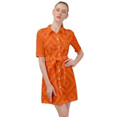 Orange Maze Belted Shirt Dress by retrotoomoderndesigns